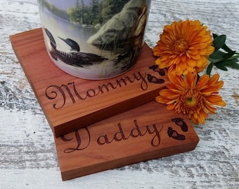 Gift New Parents,  Engraved Coasters, Custom Keepsakes For Daddy & Mommy,