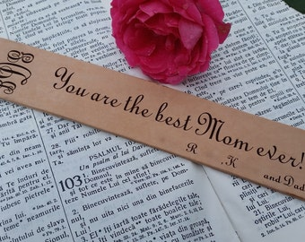 Birthday Gift Mom  From Son & Daughter, Custom Engraved Leather Bookmark, GIFT BOXED