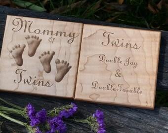 Custom Engraved Mother Of Twins Gift, Christmas Gift, Stocking Stuffer, Gift Basket, Pregnancy Basket, Baby Shower Gift, Gift Boxed