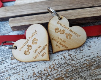 Custom Personalized Parents Gift, Wooden Key Chain, Custom Heart Keychain, Rear View Mirror Charm, Christmas Gift Wrapped