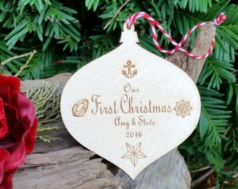 Nautical Our 1st Christmas Ornament, Engraved Wood Globe, GIFT WRAP