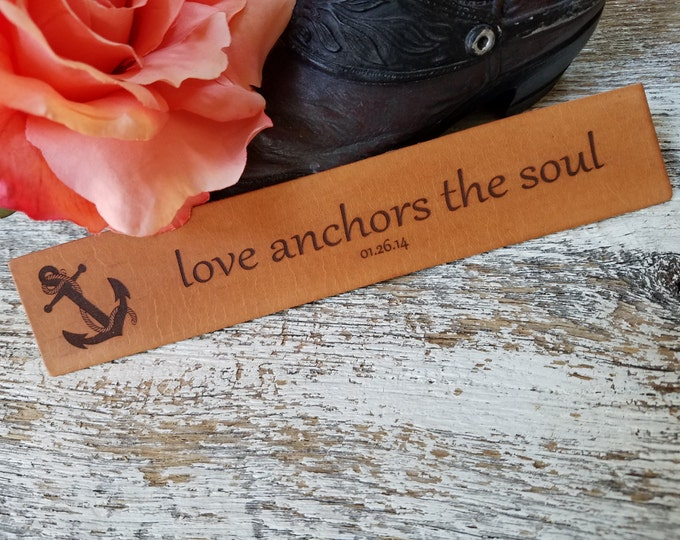 Featured listing image: Birthday  Gift, Custom Engraved Leather Bookmark, Anchor 3rd  Anniversary Gift
