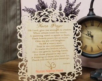 Health Care Essential Worker Gift, Nurse Prayer Plaque, Graduation Gift, Custom Made & Engraved, Priority Shipping, Gift Wrapped