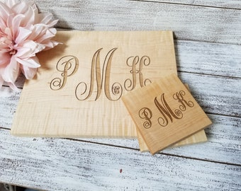 Personalized Cutting Board & Coaster Set, Bridal Shower, Wedding, 5th Anniversary Gift, Christmas Gift, Gift Wrapped
