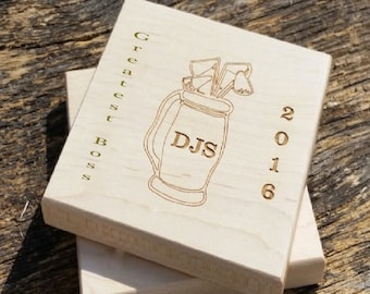 Male Boss Gift Bosses Day Gifts Engraved Coasters Birthday CUSTOM ENGRAVED Wrapped
