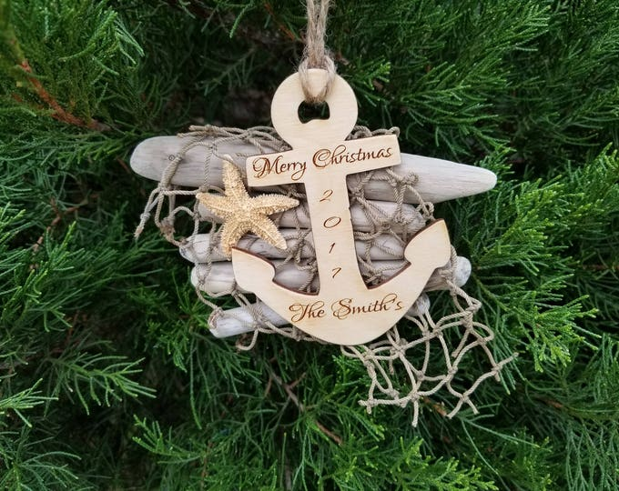 Featured listing image: Nautical Ornament, Drift Wood & Starfish Christmas Tree Decor, Gift Boxed