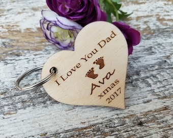 Custom Gift Dad, Wooden Key Fob, Custom Engraved Heart Keychain, Rear View Mirror Charm, Gift Wrapped