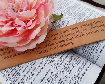 3rd Wedding Anniversary, Custom Vow Renewal Engraved Leather Bookmark Gift