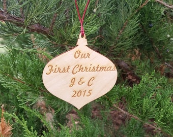 Our 1st Christmas Ornament, Engraved Wood Globe, GIFT WRAP