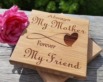 Christmas Gift For Mom, Custom Engraved Coasters, Valentine's Day Mom, Always My Mother Forever My Friend, Gift Wrapped