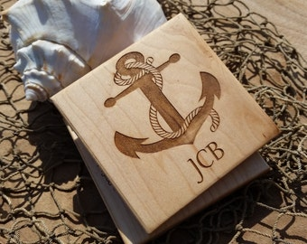 Nautical Home Decor,  Anchor Monogram Engraved Wood Coasters
