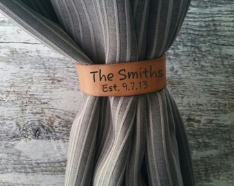 Western Home Decor, Personalized Leather Curtain Tiebacks, Rustic Home Decor, Farmhouse Goods