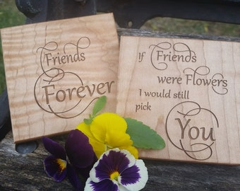 Holiday Gift Bestie, Custom Engraved Wooden Coasters, Christmas Gift Best Friend, Gift Wrapped
