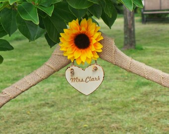 Sunflower Wedding Bride Name Hanger, Bridal Shower Gift