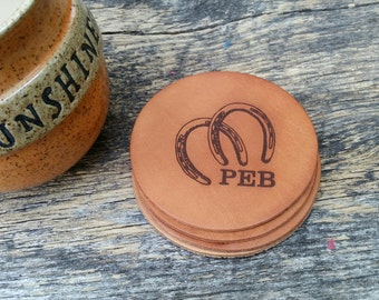 Western Home Decor, Personalized Farmhouse Kitchen Goods, Horse Doctor,  Engraved Leather Coasters, Personalized Horse Shoes, GIFT WRAPPED