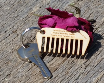 Father's Day Gift Bearded Dad, Personalized Gift Dad, Beard Comb,  Key Chain, Mirror Charm