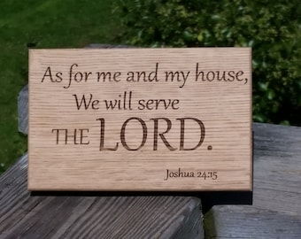 Bible Verse Wood Engraved Plaque, Inspirational Home Decor