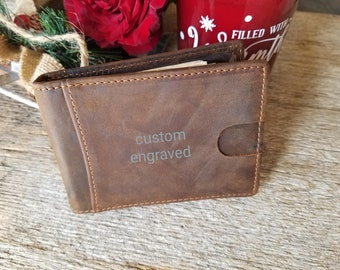 Christmas  Gift Him, Custom Engraved Leather Money Clip With Cards Slot, 3rd. Anniversary Gift, Gift Boxed