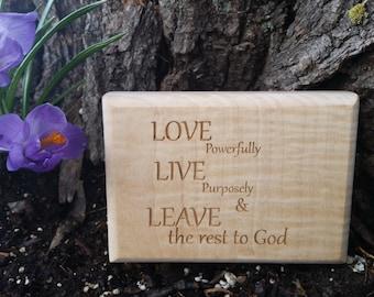 Inspirational Home Decor, Natural Wood Engraving