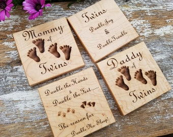 Expecting Twins Mom, Custom Engraved Wood Coasters,  Twins Baby Shower Gift, Pregnancy Gift Basket, Solid Wood, Gift Boxed,