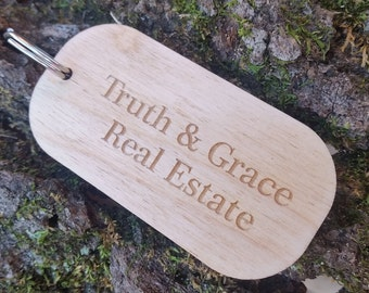 Customer Appreciation Gift, Custom Engraved Wood Key Chain, Thank You Gift Client