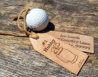 3rd Anniversary,  Personalized Gift Golfer, Leather Luggage Tags, Traveler Gift,  Gift Wrapped