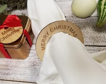 Custom Engraved Wooden Napkin Ring, Merry Christmas Gift Tags, Gift Boxed