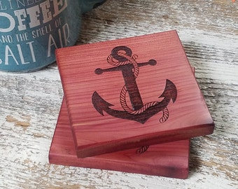 Anchor Engraved Wood Coasters, Beach Side Home Decor, Yacht Decor