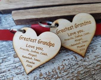 Christmas Custom Grandparents Gift,  Heart  Key Chain, Mirror Charm, Gift Boxed