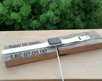 5th Anniversary Gift, iWatch Docking Station, Charger Holder  Personalized