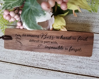 Boss Goodbye Gift, Engraved Wood Bookmark, CEO Desk Decor, Gift Wrapped