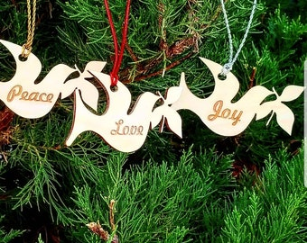 Dove Christmas Ornaments, Love, Joy, Peace, Rejoice, Noel, Christmas Trees Decor, 3, Gift Boxed