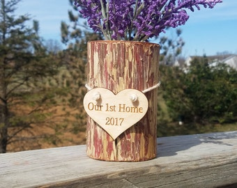 Our 1st Home Decor,  Personalized  Log Vase,  Engraved Gift