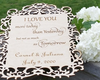 5th Anniversary Gift, Wooden Plaque Engraved, Master Bedroom Decoration
