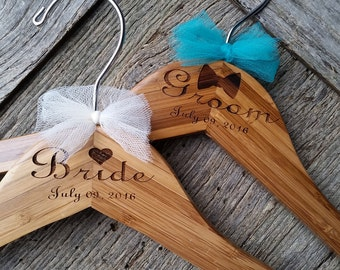 Custom Bride & Groom Hangers, Bridal Shower Gift