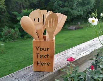 Bridal Shower Gift, Personalized  Bamboo Kitchen Utensils & Caddy, Holiday Gift Ideas, Gift Wrapped