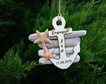 Engaged Engraved  Nautical Ornament, Drift Wood & Starfish Christmas Tree Decor