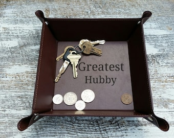 3rd Anniversary Gift Husband, Custom Engraved Leather Catchalls, GIFT WRAPPED