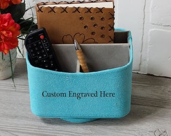 Personalized Desk Organizer Gift For Her,  3rd Anniversary Gift,  iPad Holder, Remote Caddy, Phone Holder,