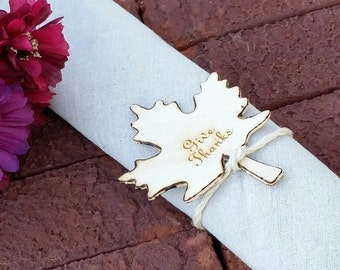 Custom Engraved, Fall Leaf Napkin Rings, Give Thanks, Thanksgiving Table Decor, 8 pc