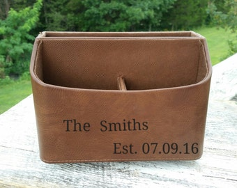 Personalized Remove Control Caddy, 3rd Wedding Anniversary, Gift For Husband, Wife, Sister, Brother