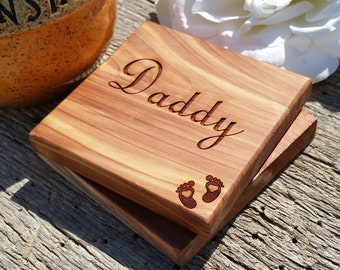 Custom Gift Daddy, Engraved Coasters, Custom Keepsakes For Dad, Father's Day Gift, Gift Boxed