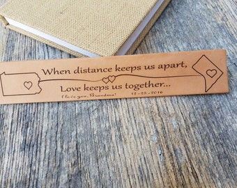 Distance State Map Gift, Custom Engraved Gift, Leather Bookmark, Military Husband From Wife, Gift Boxed
