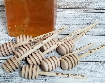"Custom Engraved 5""  Wooden Honey Dipper, Engraved Honey Stirrer, Company Advertisement, Company Logo, Gift Idea"