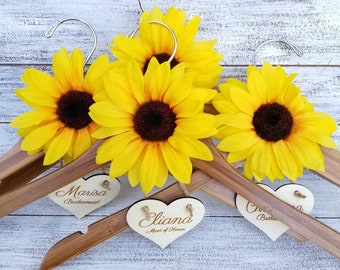 Rustic Elegant Wedding, Custom Engraved Bridal Party Dress Hangers, Bamboo Wood Hangers With Sunflower,4