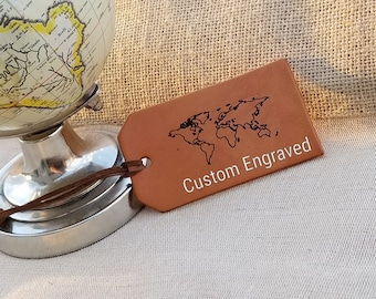 Custom Engraved Leather Luggage Tags, Traveler Gift,  Christmas Gift, Gift Wrapped