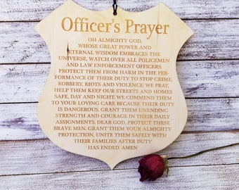 Law Enforcement, Officer's Prayer Large Plaque, Custom Made & Engraved, Free Priority Shipping, Gift Wrapped