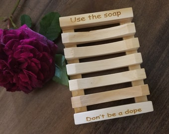 Catchi Quotes Engraved Soap Dish, Personalized Soap Holder, Wooden Soap Saver,  Gift Boxed