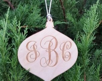 Monogram Wood Christmas Ornament, Laser Engraved Wood Globe, GIFT WRAP