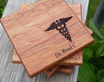 Personalized Gift For My Doctor Husband, Personalized Coasters, 4, Gift Boxed,